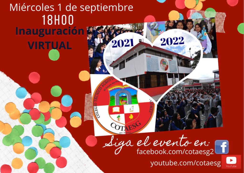 Inauguración año lectivo 2021 2022 Siga evento facebook youtube